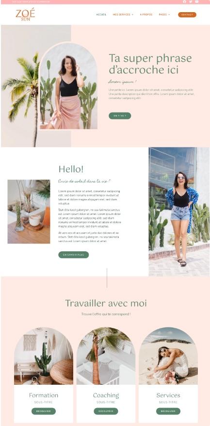 Templates Kits WordPress Elementor - Zoe Sun - Coach thérapeute Bien être site WordPress thème