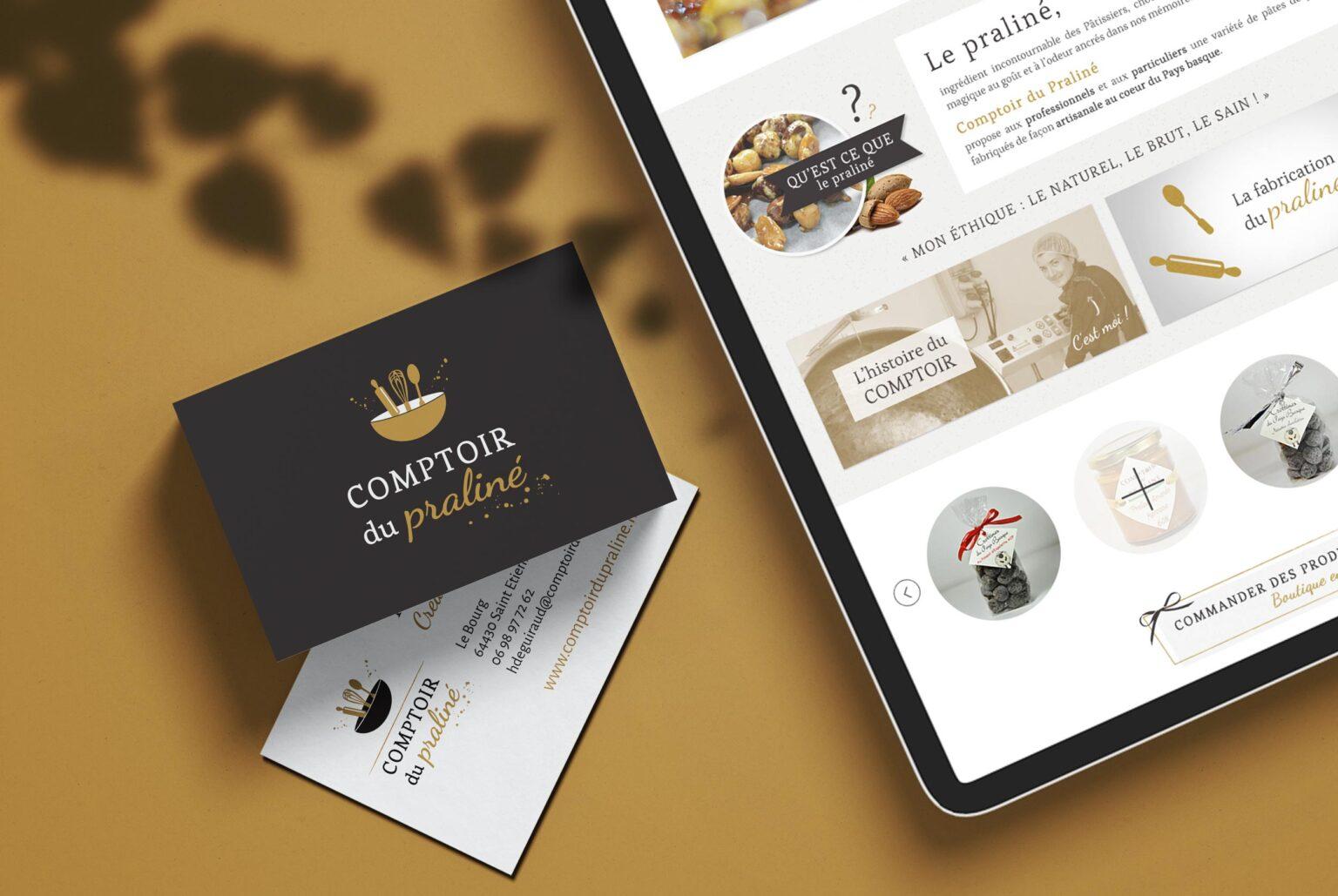 Comptoir du praliné, création d'une boutique en ligne pour artisan, identité visuelle et logo, Pays Basque