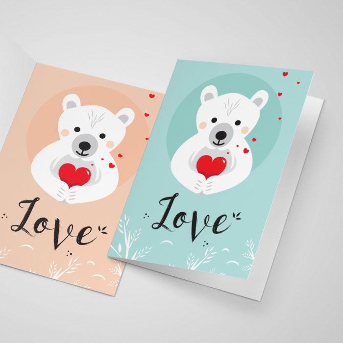 Carte de saint valentin à télécharger et à imprimer - ours coeur