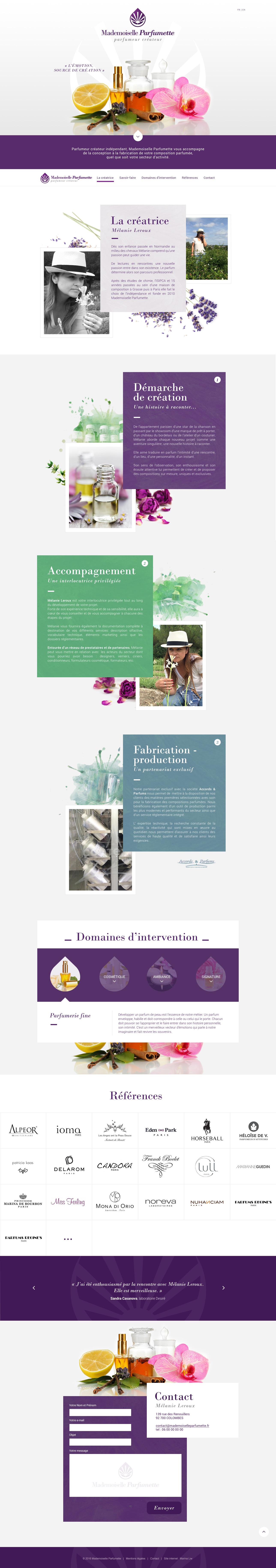 Création de site internet One Page WordPress - Créateur parfum mode - webdesign webdesigner