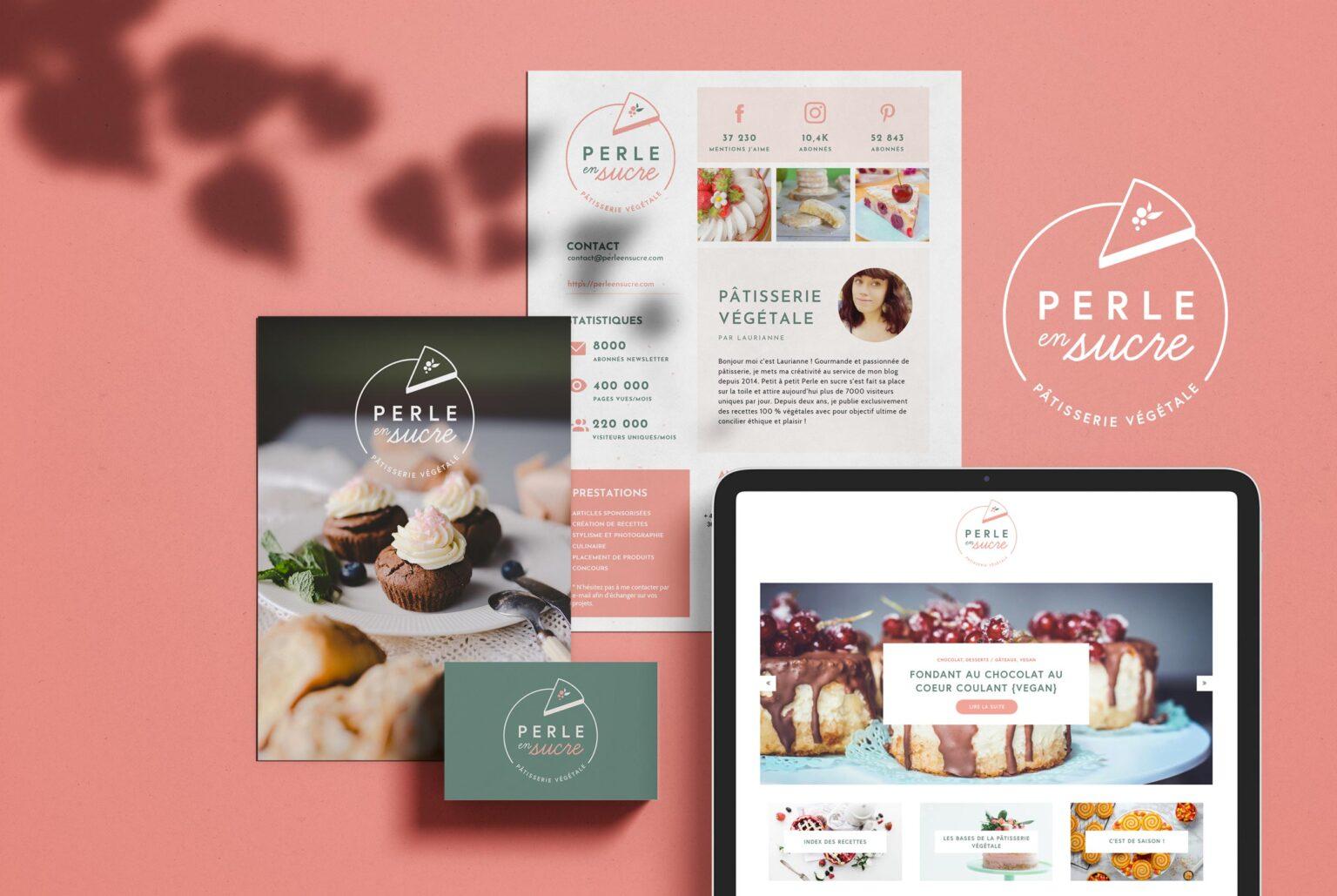 Blog pâtisserie Perle en sucre identité visuelle logo et webdesign du blog
