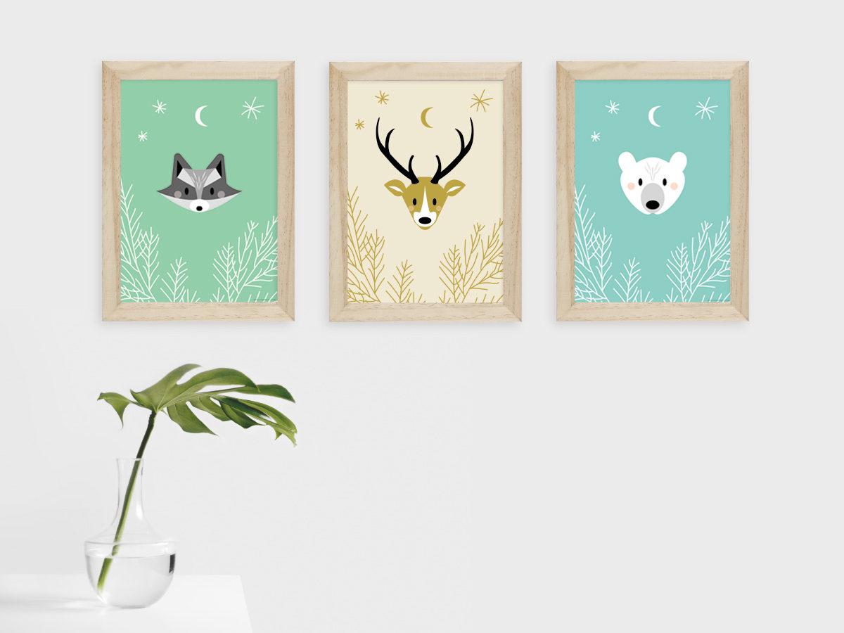 Cadre pour enfant à imprimer - poster animaux woodland