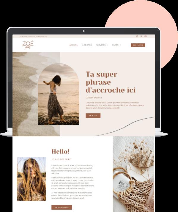 Zoé Spirit template kit Elementor WordPress, coach de vie, spirituel, bien-être, spiritualité, féminin, nude, épuré, thème wordpress