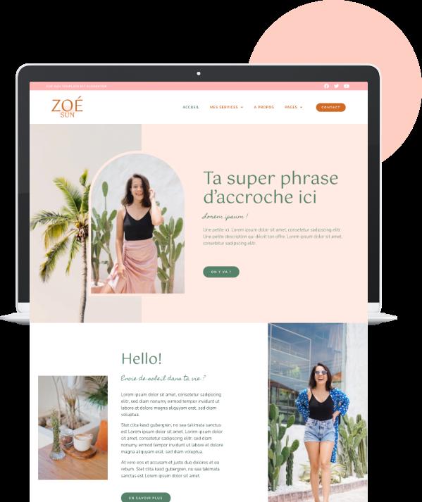 Templates de sites WordPress Elementor - template kit Elementor - site internet personnalisé pour coach, praticien bien-être, web entrepreneuse, infopreneurs