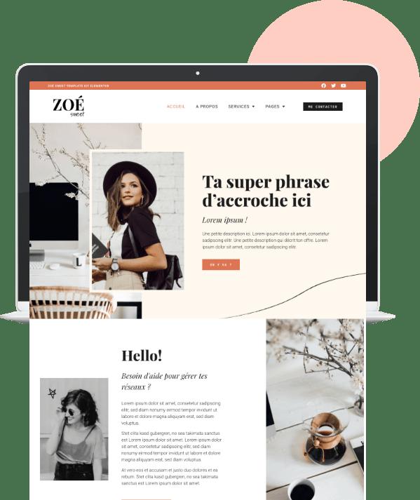 Zoé Sweet Template de site WordPress Elementor - template kit Elementor - site internet personnalisé pour community manager, cm, redactrice web, entrepreneuse, girlboss