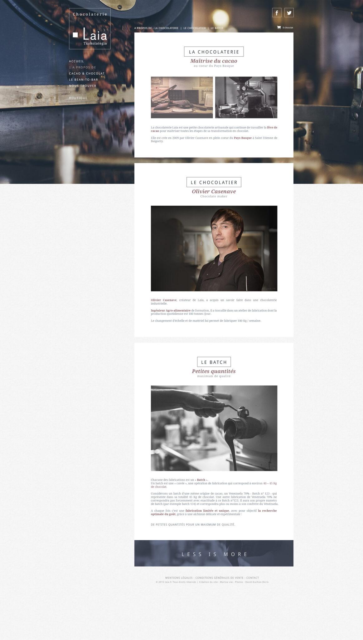 Création site internet artisan chocolatier Laia - chocolaterie Pays Basque