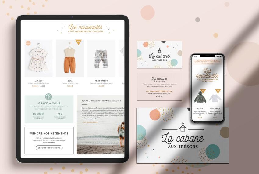 """La Cabane aux trésors, création d'identit"""" visuelle et site internet ecommerce, logo vêtements enfants boutique en ligne"""