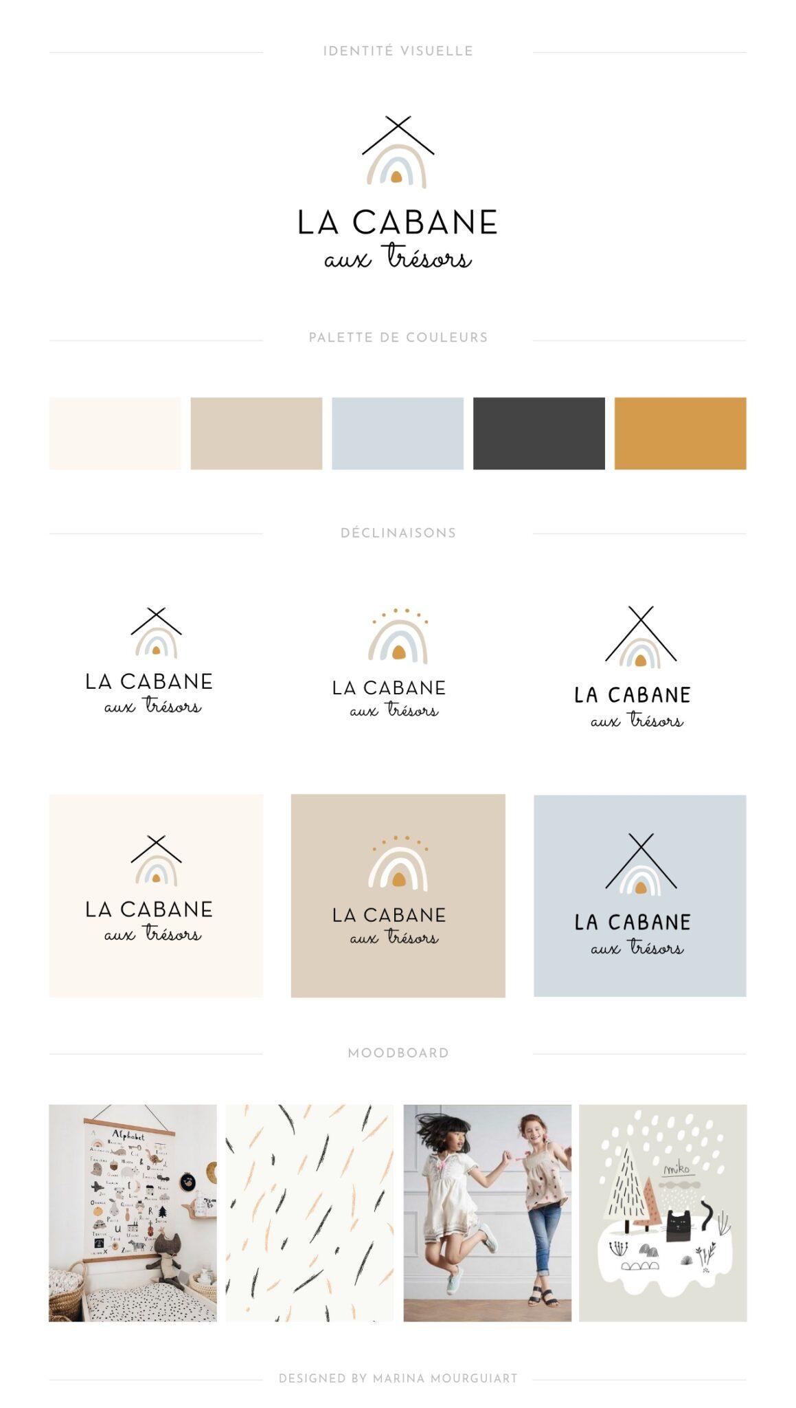 Brand Board - identité visuelle - création de logo mode enfant - La Cabane aux trésors