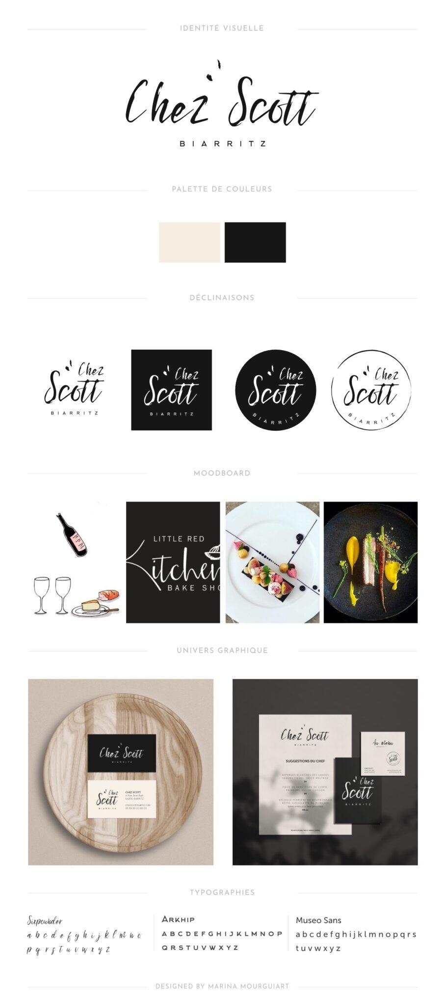 Brand board restaurant Chez Scott Biarritz - identité visuelle - logo
