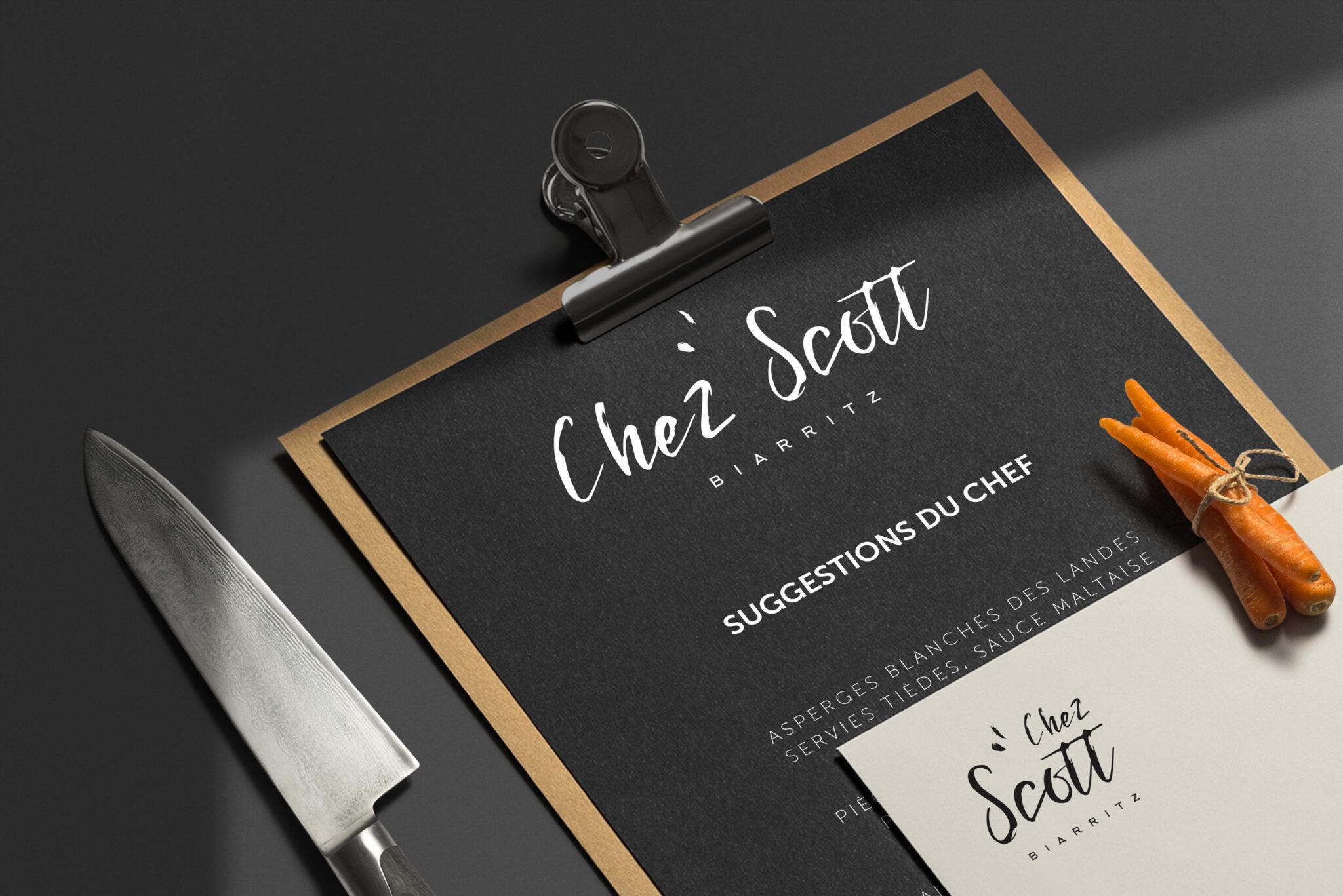 Identité visuelle et logo pour restaurant Chez Scott à Biarritz Pays Basque restauration