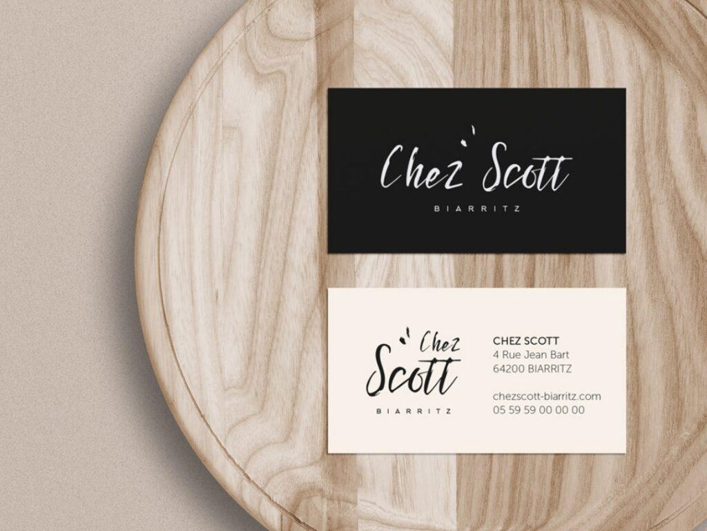 Création de carte de visite, logo et identité visuelle pour le restaurant Chez Scott à Biarritz, Pays Basque