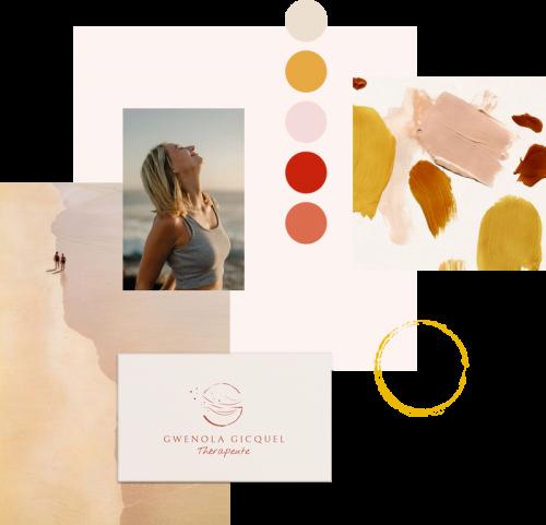 Moodboard, création d'identité visuelle et charte graphique, logotype, féminin bien-être