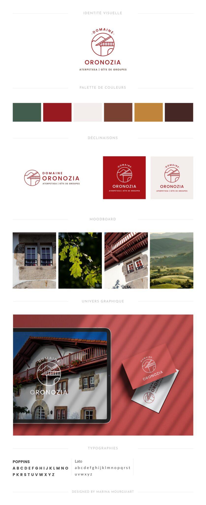 Brand board hôtel Création de logo et site internet pour gîte de groupe, hôtel, centre de vacances au Pays basque - identité visuelle