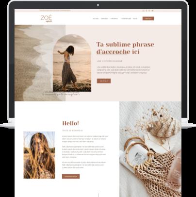 Template WordPress Elementor Zoé Spirit, couleurs nude et naturel pour entrepreneuses du bien-être et spirituel - Liw studio