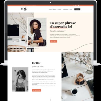 Template WordPress Elementor Zoé Sweet pour web entrepreneuses, infopreneurs, CM, rédacteurs, copywriter, influenceuse - Liw studio
