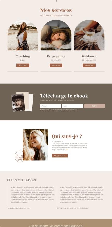 Template kit Elementor, site vitrine, nude, épuré, beige, féminin, spirituel, theme WordPress marron
