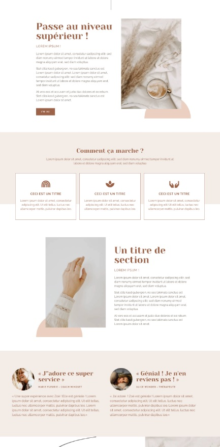Template kit Elementor, site vitrine, nude, épuré, beige, féminin, spirituel, theme WordPress