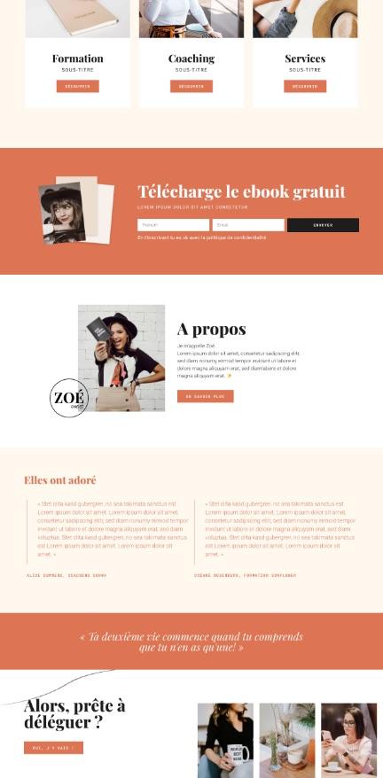 Elementor template kit Zoé Sweet by Liw studio, webdesign girlboss, web entrepreneuse, féminin, rouge et noir, épuré