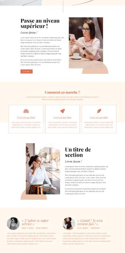 Elementor template kit Zoé Sweet by Liw studio, webdesign girlboss, web entrepreneuse, féminin, rouge et noir, épuré, services web